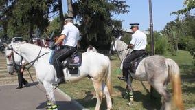 Policemen on horseback stock video footage