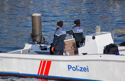 Policemen In The Boat On The Limmat River Stock Photos