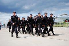 Policemen march at MAKS International Aerospace Salon MAKS-2017 Stock Images
