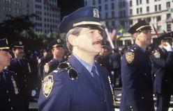 Policemen Marching in Columbus Day Parade, New York City, New York Royalty Free Stock Photography