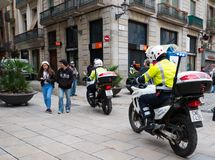 Policemen on motorcycles,  on March 14, 2013 in Barcelona, Spain Royalty Free Stock Image