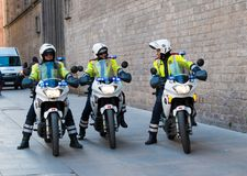 Policemen on motorcycles,  on March 23, 2013 in Barcelona, Spain Stock Photos
