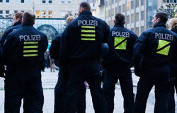 Policemen patrolling in Hamburg Royalty Free Stock Photo