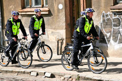 Policemen police on bicycles city Royalty Free Stock Photography