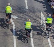 Policemen riding bicycles in Zurich, Switzerland Royalty Free Stock Photos
