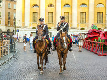 Policenmen with horses  watch Stock Image
