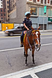 Policeofficer is riding his horse Stock Photos