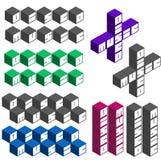 Polices carrées cubiques de musique de disco dans différentes couleurs Image libre de droits