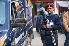 Polices during protest within a campaign to end violence against women (VAW), Dec 2, 2013 in Kathmandu, Nepal. Stock Photos