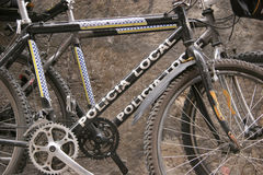 Policevehicles. Bicycles used by the police on the isle of mallorca Royalty Free Stock Images