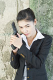 Policewoman in action. Royalty Free Stock Images
