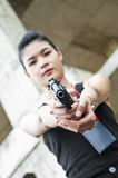 Policewoman in action. Stock Images
