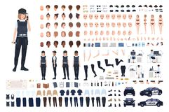 Policewoman animation set or DIY kit. Bundle of female police officer body parts, faces, hairstyles, uniform, clothing. And accessories isolated on white royalty free illustration