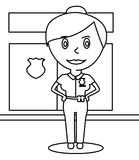 Policewoman coloring page Royalty Free Stock Photo