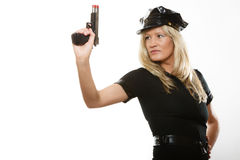 Policewoman cop with gun Stock Image
