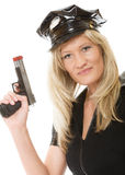 Policewoman cop with gun Stock Images