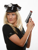 Policewoman cop with gun Royalty Free Stock Photo
