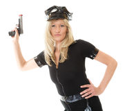 Policewoman cop with gun Stock Photography