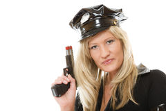 Policewoman cop with gun Stock Photo