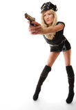 Policewoman cop with gun Royalty Free Stock Photos