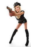 Policewoman cop with gun Royalty Free Stock Image