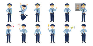 Policewoman emotion set. Policewoman emotion set on white background. Smiling, sad, angry and more Royalty Free Stock Image