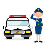 Policewoman and a police car Stock Photography
