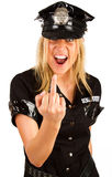 Policewoman showing a finger Stock Photo