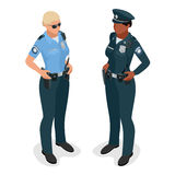 Policewoman in uniform. Realistick flat 3d isometriv vector illustration. Officer woman  on white. Royalty Free Stock Photo