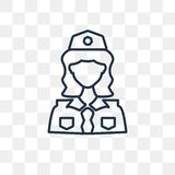 Policewoman vector icon isolated on transparent background, line royalty free illustration