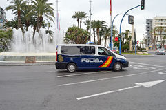 Policia Spanish Police Van. The police are stopping the traffic for the cycle road racers in Alicante during the 2017 La Vuelta Valencia Royalty Free Stock Photo