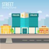 Policie a construção no espaço da cidade com a estrada no plano Fotografia de Stock Royalty Free