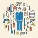 Policie o uniforme e ajuste o equipamento do pessoal da proteção no escritório do armário No plano em linhas finas fundo do proje Imagem de Stock