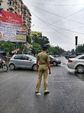 Policier à Ahmedabad images libres de droits