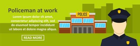 Policier au concept horizontal de bannière de travail Photos stock