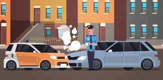 Policier brisé d'accident de la route de voiture dans l'uniforme publiant les bâtiments fins juridiques de ville de document d'éc illustration de vecteur