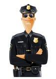 Policier dans l'uniforme et les lunettes illustration stock