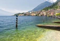 Policier de sul de Limone au policier de lac, Italie Images libres de droits