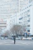 Policier de trafic de Dalian Photo libre de droits