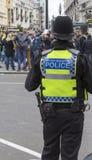 Policier de transport des Anglais observant une foule Images stock