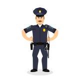 Policier fâché cannette de fil courroucée Police agressive de dirigeant illustration libre de droits