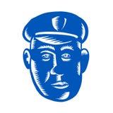 Policier Head Woodcut Photographie stock