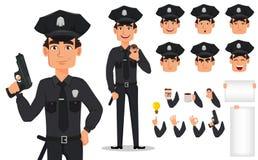 Policier, policier Paquet de parties du corps et d'émotions Images stock
