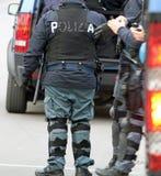 Policiers italiens pendant une démonstration Photographie stock libre de droits