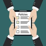 Policies board company policy check list royalty free illustration