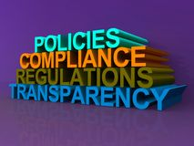 Policies compliance regulations transparency. Policies, compliance, regulations and transparency concept illustration with the words on purple background royalty free illustration