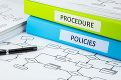 Policies and procedure documents for business. Business binders with POLICIES and PROCEDURE words on labels place on process flow charts, pen pointing at Stock Image