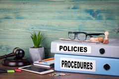 Policies and Procedures. Successful business, law and profit background stock images