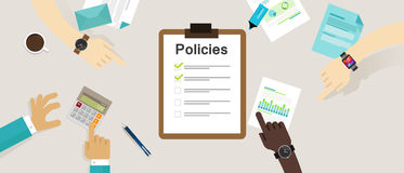 Policies regulation concept list document company clipboard. Vector Royalty Free Stock Photo