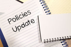 Policies update text concept royalty free stock photography